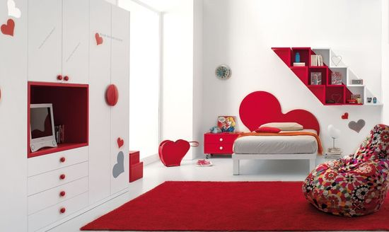 red and white design bedroom