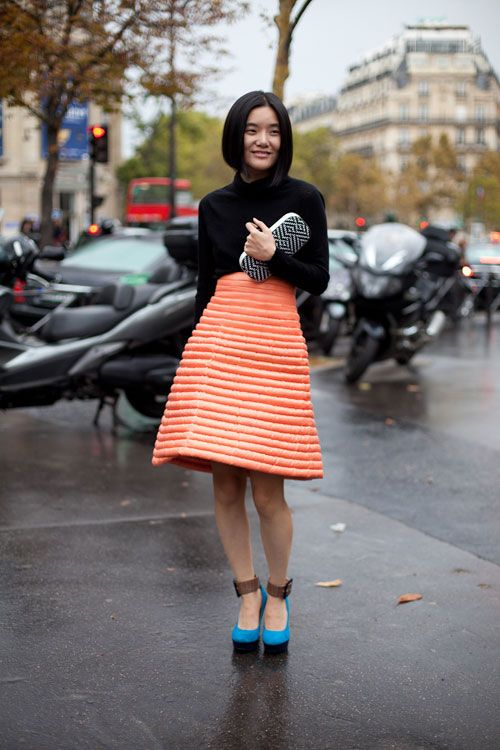 STREET STYLE SPRING 2013: PARIS FASHION WEEK - A confection of a skirt is grounded with basic black.