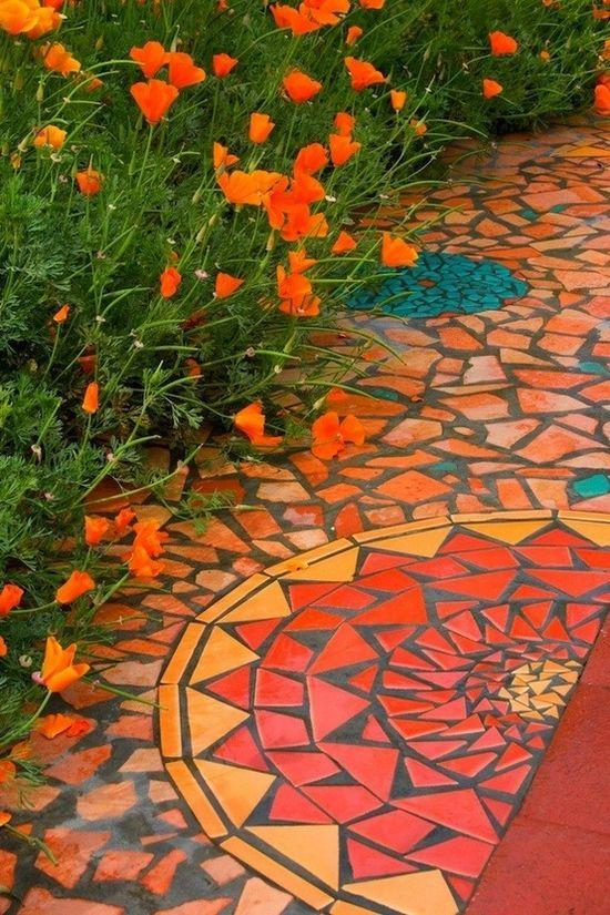 Marble mosaic tiles - pretty!
