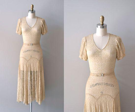 1930s dress / lace 30s dress / Lux by DearGolden