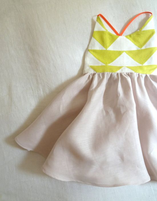 Patchwork Quilt Dress in Blush Pink Linen and Neon Lemon Yellow Raw Silk Noil