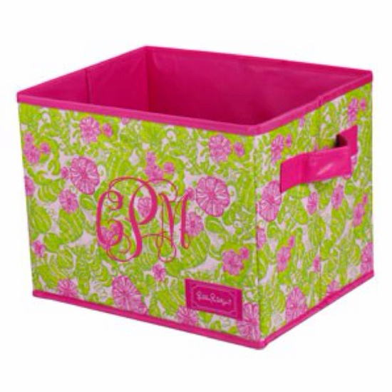 Monogrammed Lilly Pulitzer organization bin. Perfect for college dorm room!