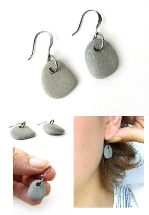 earrings made from rocks