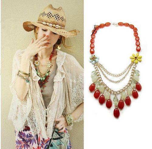Fashion Women jewelry Enamel Crystal Flower Multilayer Tassel Bead Necklace