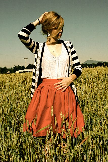 red skirt and stripes