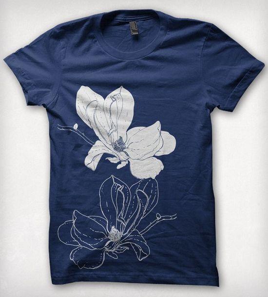 Blue Magnolia Blossom T-Shirt