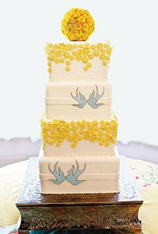 Yellow and white cake with blue swallows. #weddingcakes #weddings  Cake by Celso's Cakes; Photo: Dan & Anne Almasy