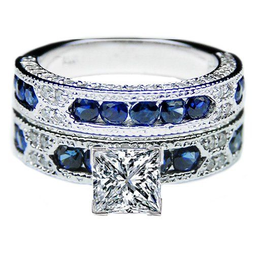 Princess Cut Diamond Vintage Engagement Ring Blue-Sapphire Accents & Matchin