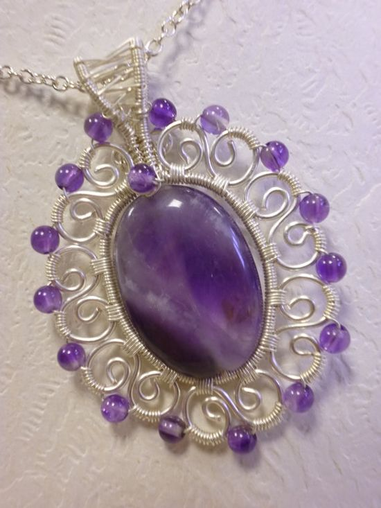 Oval amethyst gemstone pendant wire jewelry by Juditta on Etsy, $32.00