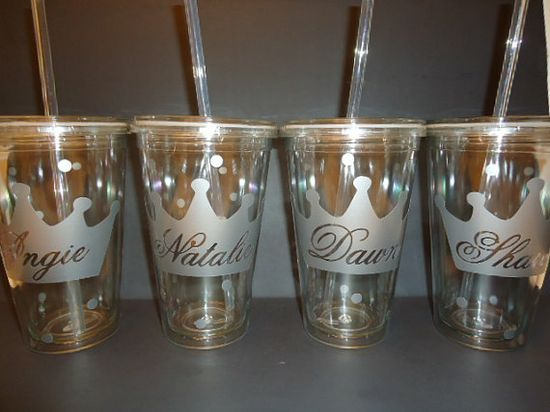 Bachelorette party 16 ounce personalized tumblers with twist off lids and straws, made of double walled acrylic - no rings on the table or messy sweating cups! ~ Dotted Designs for Brides on Etsy    These cups make great favors for the bachelorette party or wedding shower. Also cute gift for the bridesmaids and flower girls!