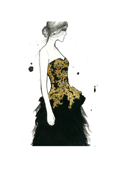 Watercolor Fashion Illustration - McQueen Moment print, by JessicaIllustration via Etsy.