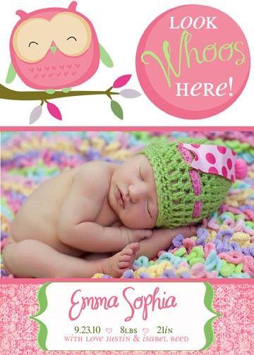 Cute Owl Birth Announcement/invitation
