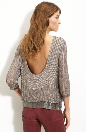 parker sequin open back blouse