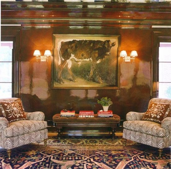 Chocolate lacquered library walls, sconces - Miles Redd