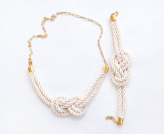 Ivory wedding Matching better set  Nautical Knot  Rope Necklace and bracelet with golden chain. $50.00, via Etsy.