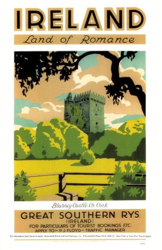 Vintage Ireland poster - certainly the land of romance for me!