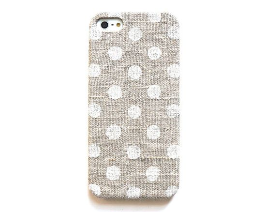 Dot iPhone 5 case, iPhone 4s case, Linen iphone case, Natural iPhone case, Polka dot iPone case