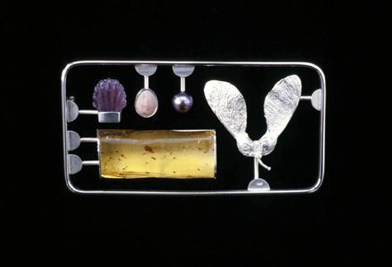 "Jack Cunningham - ""Kit"" series - Nature Kit  Brooch 2003 - white metal, amber, shell, cultured pearl, amethyst"
