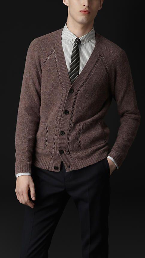 Burberry Prorsum Open-Stitch Detail Cashmere Cardigan