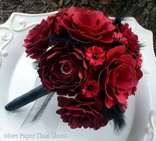 Handmade Paper Flower Bouquet - Red and Black
