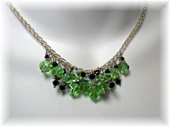 Peridot Crystal Bead Necklace by ChicArtistique on Etsy, $34.00