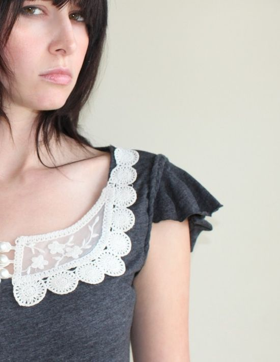 Feminine Lace Collar Tunic  Braided trim flutter by Minxshop on Etsy >> Ooohhhh so beautiful...