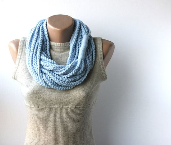 WINTER SALE Baby blue crochet scarf  infinity by violasboutique,