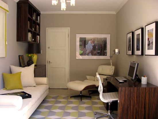 Office space doubling as a guest bedroom
