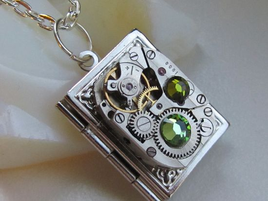 Book locket necklace with vintage watch