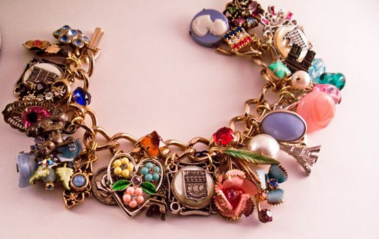 Repurposed Vintage Jewelry   Pins as charms!