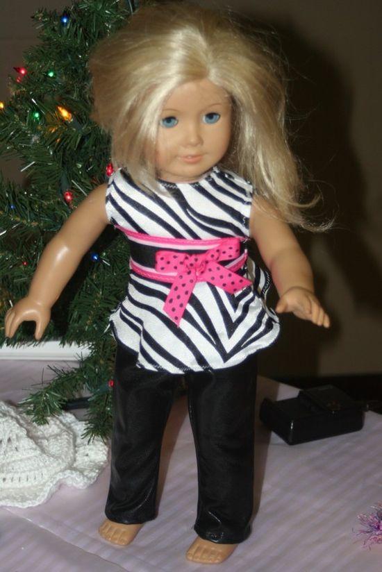 AMERICAN GIRL doll clothes ZEBRA top / black by KikiDawnKreations,