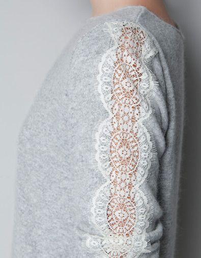 DIY lace sleeves.