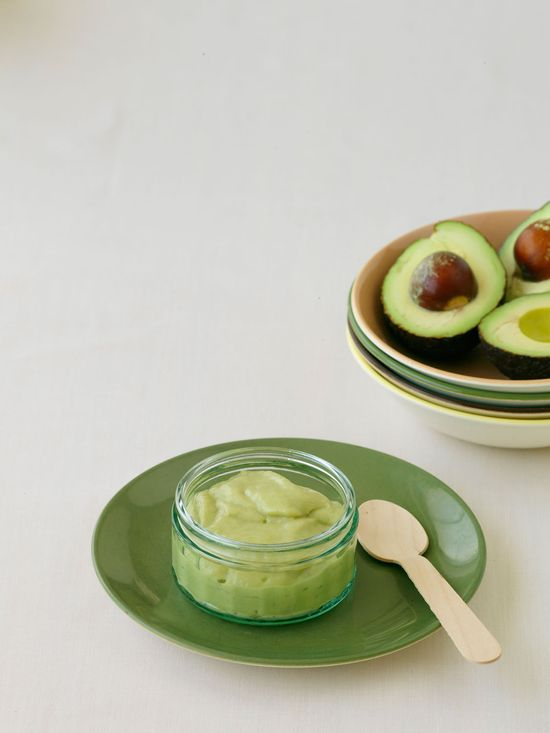 Mash avocado and banana with a drop of lemon juice. Perfect raw and healthy baby food.