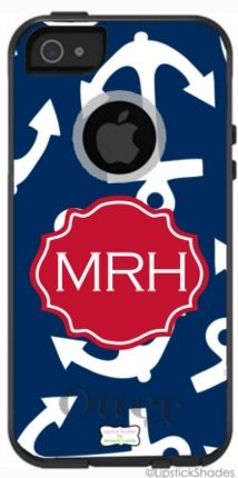 Anchors Away Monogrammed OtterBox® iPhone Cover -GirlyTwirly.com