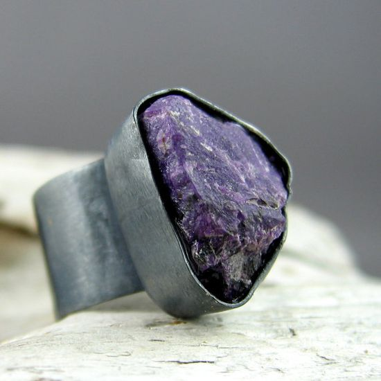 Sugilite Oxidized Silver Ring by ElementalAlchemist on Etsy, $95.00