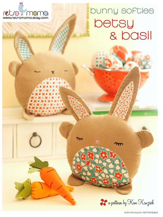 EASTER - PDF Sewing Pattern Betsy & Basil Bunny Softies by retromama, $8.00