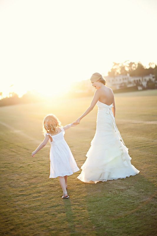 bride and flower girl.