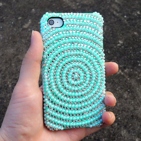 Rhinestone iPhone Case - Mint Green iPhone Case - Pearl iPhone 4 4S Case - Bling Bling iPhone 5 Vortex Pattern Case