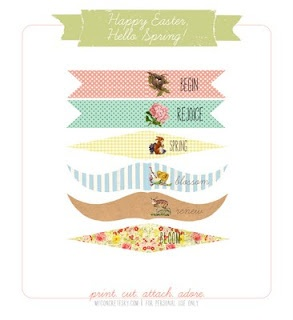 Printable vintage cupcake flags for Easter.