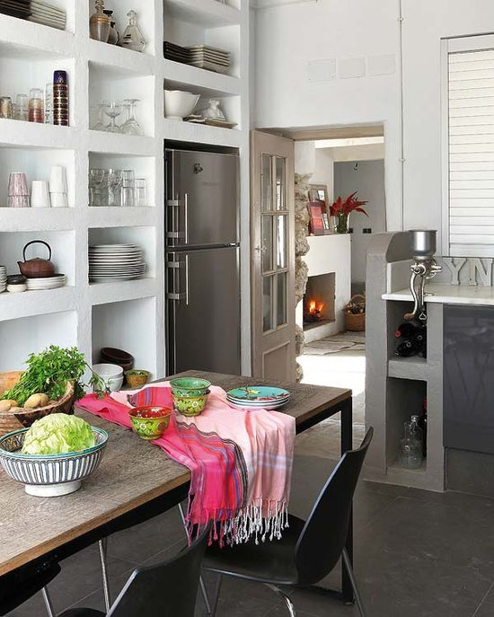 bookcase style kitchen shelving