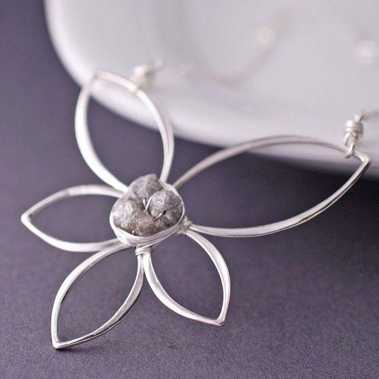 Raw diamond pendant