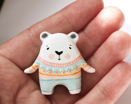 A clay polar bear - with great jumper!