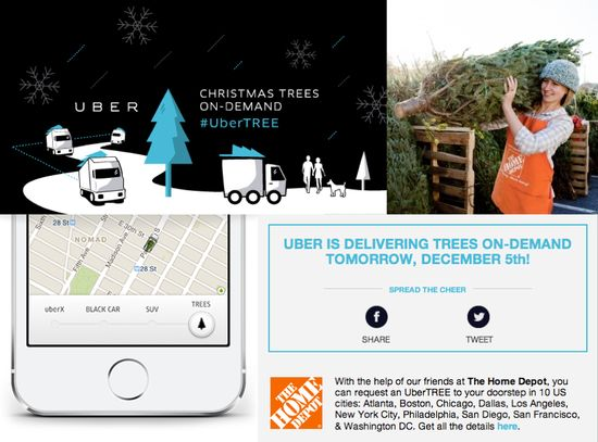 Uber and Home Depot tree delivery promotion