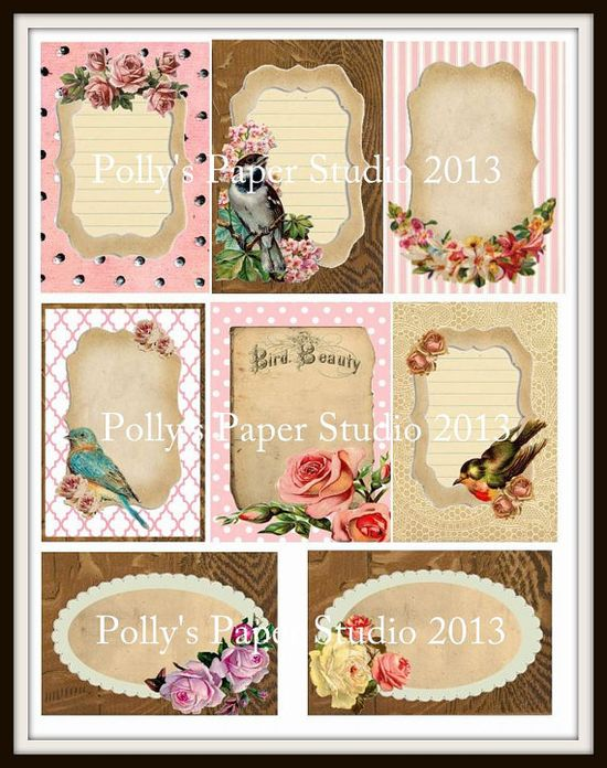 VINTAGE Birds and Flowers Journal Card Collage by PollysPaper, $4.00