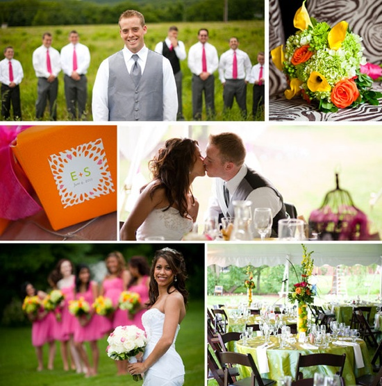Spring wedding. Hot pink and grey groomsmen outfits!