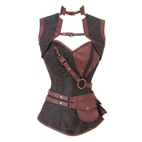 CD-999 – Brown Brocade Pattern Steampunk Corset with Faux Leather Brown Removabl