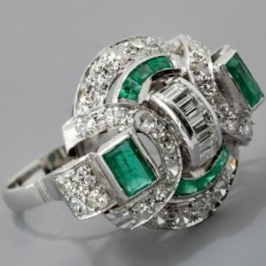 amazing diamond and emerald art deco ring. by claudia