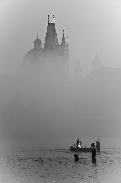 Vltava River under the fog, Prague