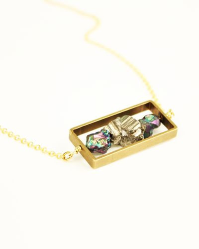 Rainbow and Gold Pyrite Square Pendant