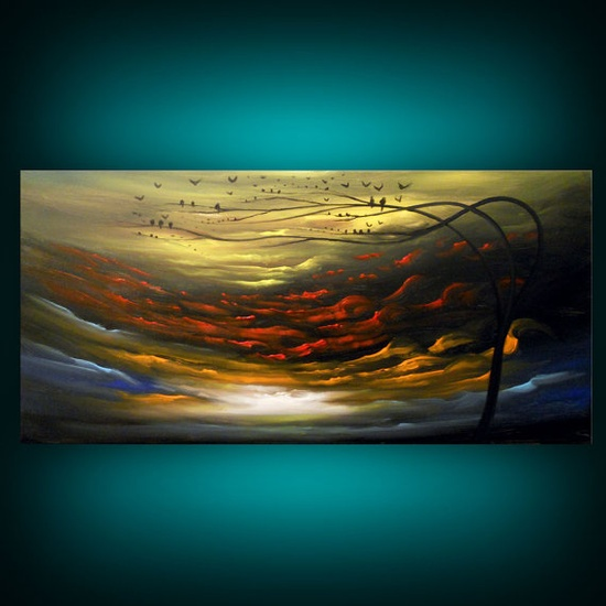 silhouette tree painting abstract landscape painting by mattsart, $360.00